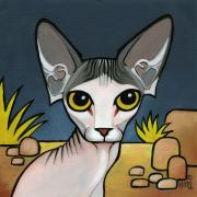 Wrinkly Posters - Sphinx Cat Poster by Leanne Wilkes