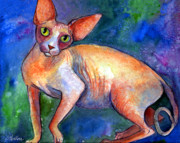 Commissioned Austin Portraits Prints - Sphynx Cat 4 painting Print by Svetlana Novikova