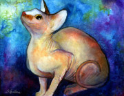Pet Portraits Drawings Prints - Sphynx Cat 5 painting Print by Svetlana Novikova