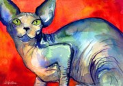 Pet Portraits Drawings Prints - Sphynx Cat 6 painting Print by Svetlana Novikova