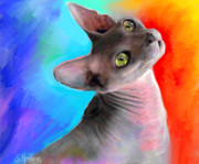 Kitten Prints Drawings Prints - Sphynx Cat painting Print by Svetlana Novikova