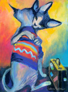 Animal Contemporary Art Art - Sphynx Cats Friends by Svetlana Novikova