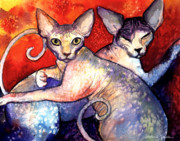 Cute Cat Drawings Prints - Sphynx cats sphinx family painting  Print by Svetlana Novikova