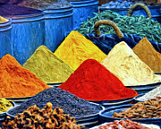 Dominic Piperata Metal Prints - Spice Market in Casablanca Metal Print by Dominic Piperata