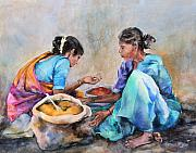 Indian Women Framed Prints - Spice Sellers Framed Print by Kate Bedell