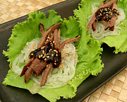 Beef Photo Posters - Spiced Beef Tongue Lettuce Wraps Poster by James Temple