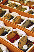 Fabric Framed Prints - Spices on the market Framed Print by Elena Elisseeva