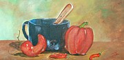 Hot Peppers Painting Originals - Spicey by Sandra Valentini