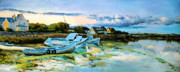 Boats In Water Paintings - Spiddal Harbour by Conor McGuire
