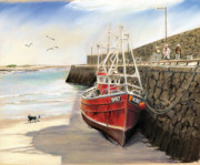 Fishing Trawler Posters - Spiddal harbour Poster by Vanda Luddy