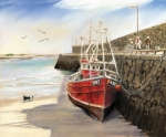Trawler Metal Prints - Spiddal Pier Metal Print by Vanda Luddy