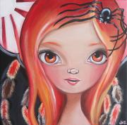 Creepy Painting Prints - Spider Fairy Print by Jaz Higgins