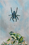 Web Painting Framed Prints - SPIDER FLY and TOAD Framed Print by Fabrizio Cassetta