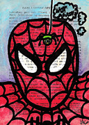 Red Buildings Drawings Framed Prints - Spider Mr Uh Oh Framed Print by Jera Sky