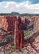 Navajo Painting Acrylic Prints - Spider Rock Overlook Acrylic Print by Donald Maier