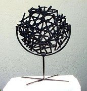 Black Stand Glass Art - Spider Web by Judy Schnabel