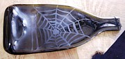 Wine Bottle Glass Art - Spider Web Tray by Hartz