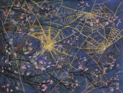 Tree Blossoms Paintings - Spider Webs and Bloosoms by Ethel Vrana