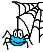 Cartoon Spider Prints - Spider with Web Print by Jera Sky