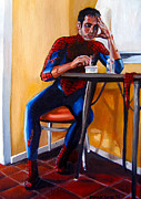 Spiderman Paintings - Spiderman after work by Emily Jones
