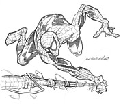 Spiderman Drawings - Spiderman by Isaac Cordova