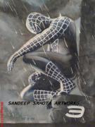 Lady In Red Drawings - Spiderman by Sandeep Kumar Sahota