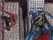 Spiderman Drawings - Spiderman VS. Batman by Claudia Gonzalez