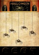 Halloween Card Prints - Spiders For Halloween Print by Arline Wagner