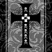 Spiderweb Posters - Spiderweb Skull Cross Poster by Roseanne Jones