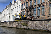 Belgian Draft Horse Photos - Spieglerei Canal in Bruges Belgium by Louise Heusinkveld