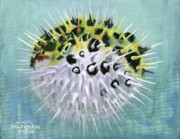 Puffer Fish Paintings - Spike by Arleana Holtzmann