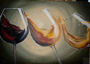 Red Wine Drawings Posters - Spilled wine Poster by Ayna Niyazova