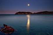 Sea Moon Full Moon Posters - Spinalonga Full Moon Poster by Christos Tsoumplekas