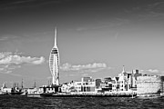 Portsmouth Prints - Spinnaker Tower and Round Tower Portsmouth BW Print by Gary Eason