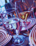 Wine Bottle Art Paintings - Spinning Plates by Penelope Moore