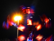 Lights Digital Art Originals - Spinning Ride by Charles Stuart