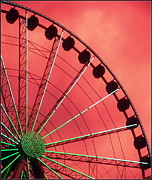 Ferris Wheels Posters - Spinning Wheel  Poster by Karen Wiles