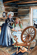 Log Cabin Art Prints - Spinning Wheel Lessons Print by Hanne Lore Koehler