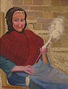 Crete Painting Originals - Spinning wool in rural Crete Greece by Aspasia Arvanitis