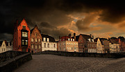 Gabled Prints - Spinolarei at dusk Bruges Print by Louise Heusinkveld
