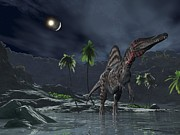 Impact Metal Prints - Spinosaurus Witnessing A Lunar Impact Metal Print by Walter Myers