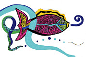 Abstract Digital Drawings Prints - Spiral Fish Print by Christine Perry