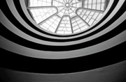 Locations Photo Framed Prints - Spiral staircase and ceiling inside The Guggenheim Framed Print by Sami Sarkis
