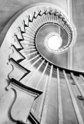 Black-and-white Metal Prints - Spiral Staircase Lowndes Grove  Metal Print by Dustin K Ryan