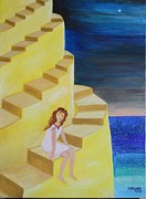 Stairs Painting Posters - Spiral Stairs Poster by Monica Moser