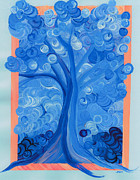 Four Seasons Winter Tree  Nature Paintings - Spiral Tree winter blue by First Star Art