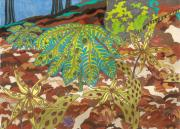 Trout Mixed Media Prints - Spiral Trout Lilies and Mayapples Print by Courtney Trimble