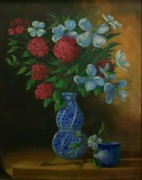 Red Geraniums Mixed Media Prints - Spiral Vase Print by Tom Forgione