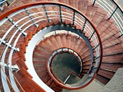 Wooden Stairs Posters - Spiraling Staircase Seen  From Above Poster by Yali Shi
