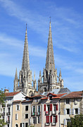 Residential Structure Prints - Spires Of Bayonne Cathedral Rising Up Behind Terraced Housing, France Print by David Forman